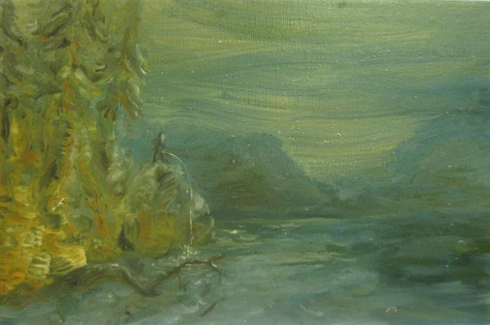 pisciatina al crepuscolo-2012-olio su tela-25x35 cm
