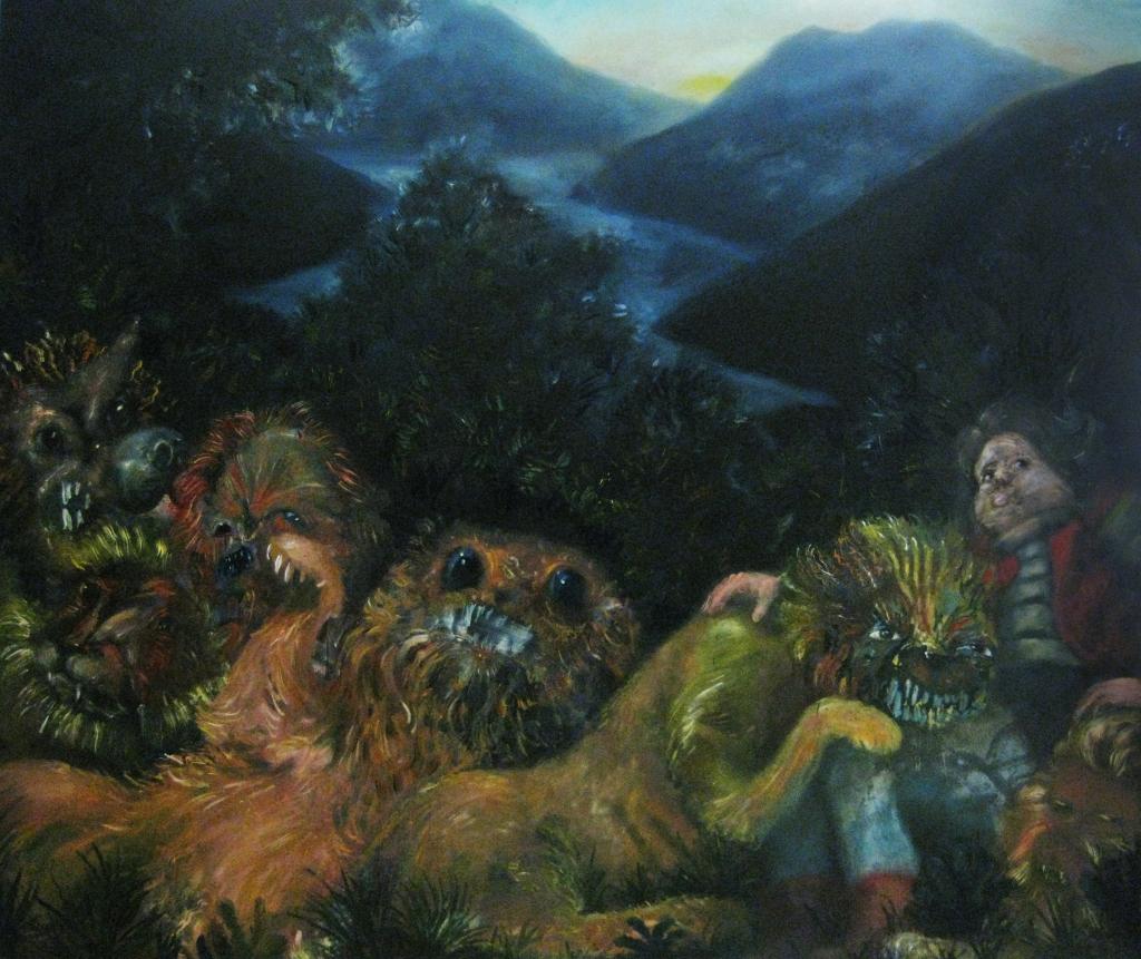alla fine preferisco stare con grandi felini dawn-2013-213x145 cm-olio su tela
