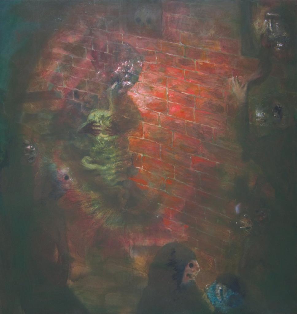 miracoloso mal di pancia sulle scale- 2013- 210x199 cm- olio su tela