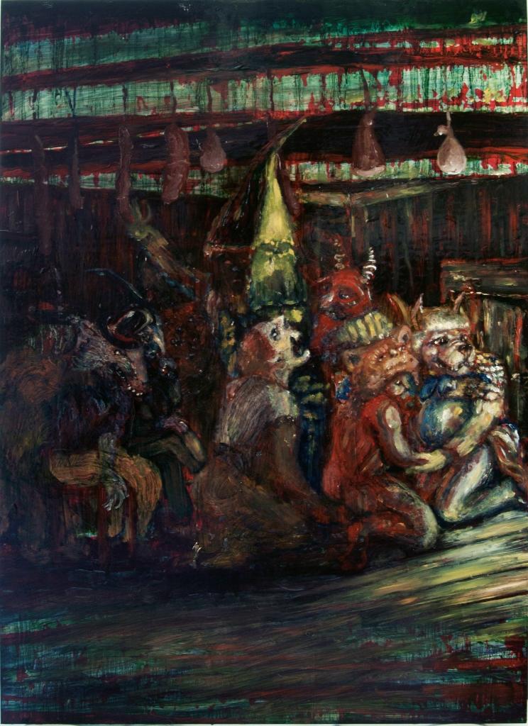 The salami gang-2013-70,5 x 50 cm-olio su tavola