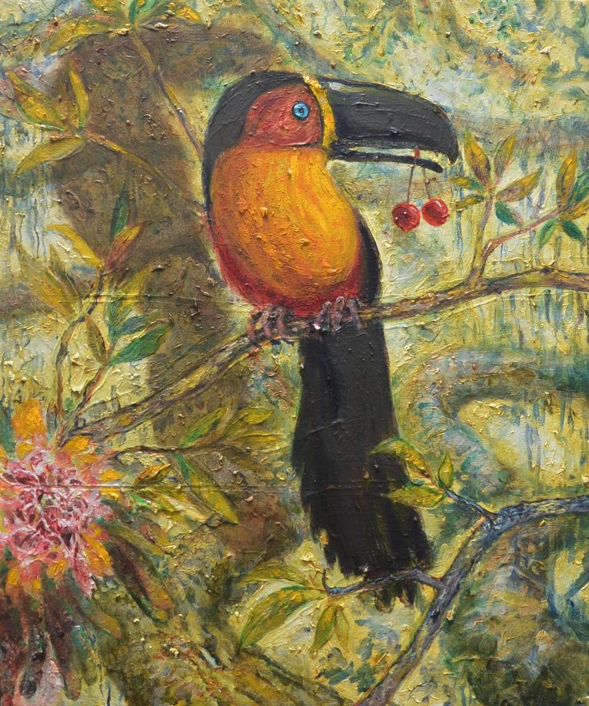 il pappagallo e le ciliege-2014-60x50 cm-olio su tela