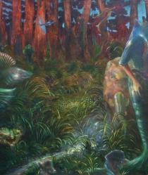 pesci fuor d'aqua (sono evoluzionista) -2014-olio su tela- 213x187 cm