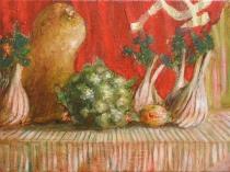 3 finocchi e una bandiera rossa-2015-0lio su tela -20x25 cm